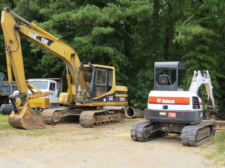 Cat and Bobcat excavators